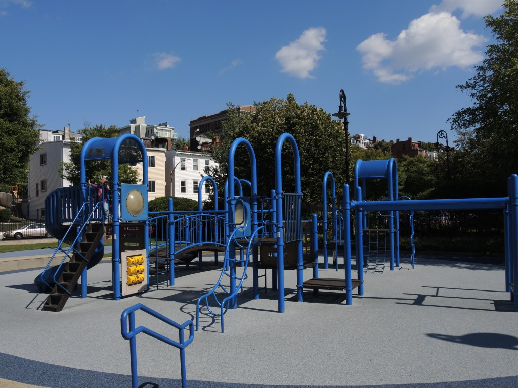 One of two playground sets