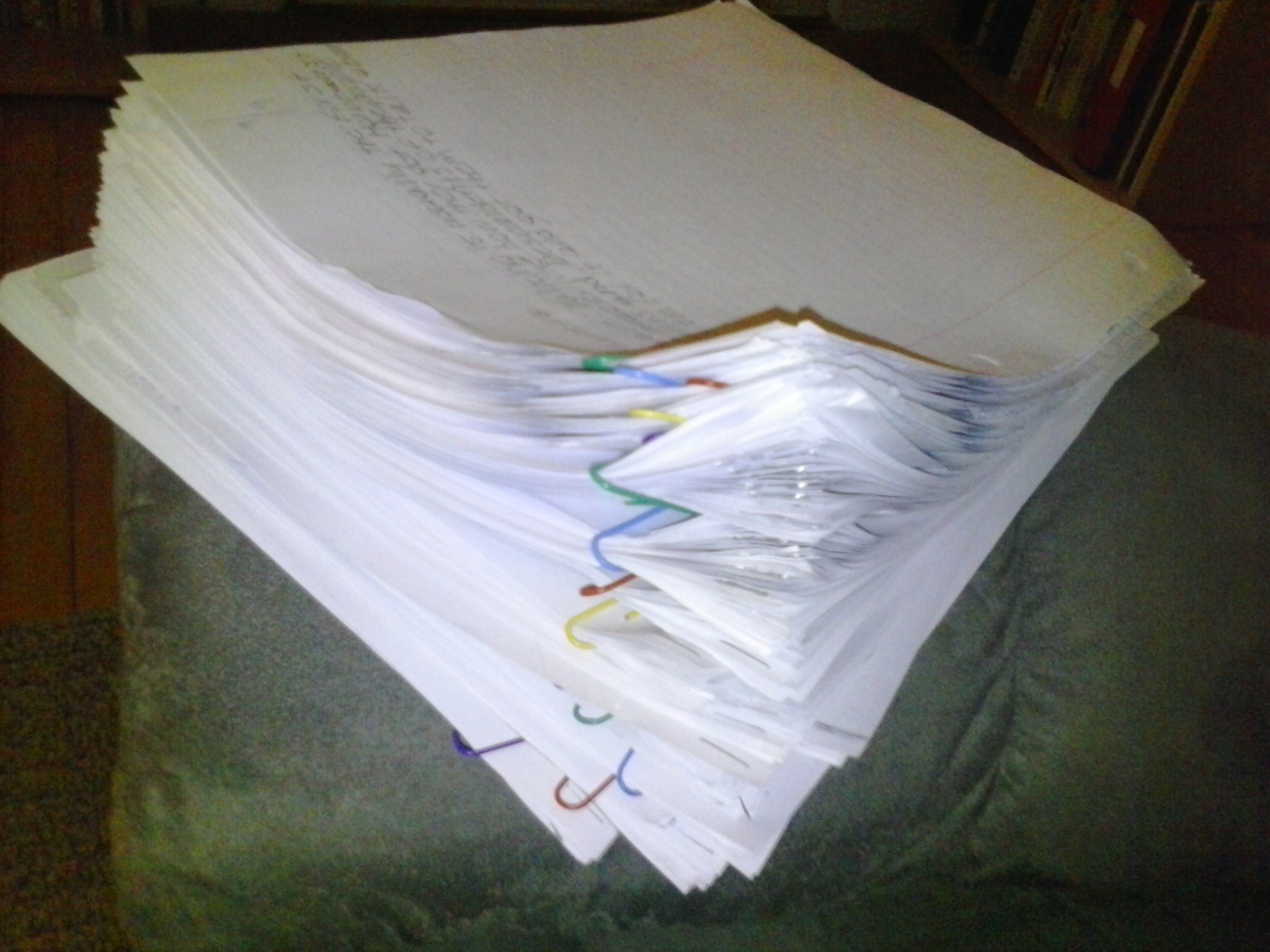A typical stack of papers to grade